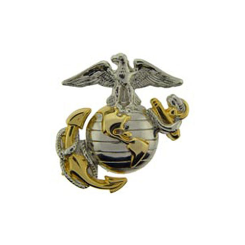 1 1/8 Inch USMC Gold And Silver Emblem Pin