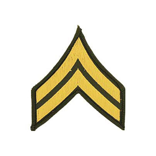3 Inch Army Dress Green E4 Corporal Patch