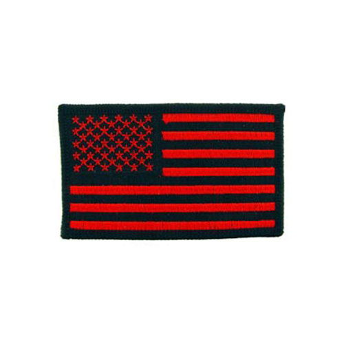 USA Black And Red Ractangle Flag Patch