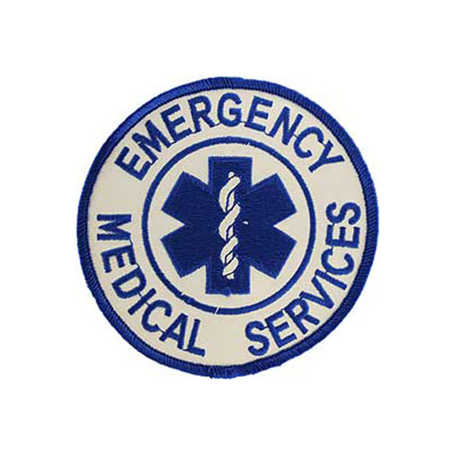 Emergency Medicle Services Logo Blue And White Patch
