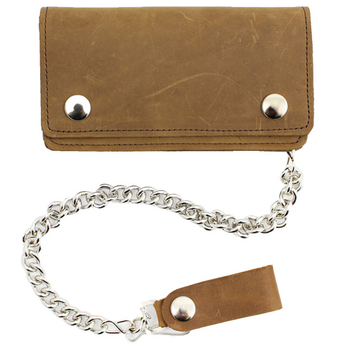 Genuine Leather Pull Up Chain Wallet