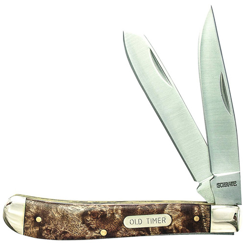 Schrade Gunstock Trapper 3 7/8 Inches Closed 2 Blade With Iron Wood Handle