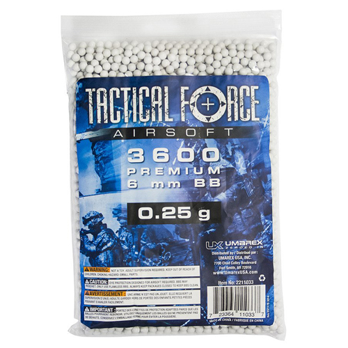 Tactical Force .25g 6mm Airsoft BBs 3600ct